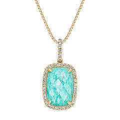 Green Amazonite and White Topaz Duet Pendant with Diamond Accent (18 in.)