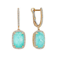 Green Amazonite and White Topaz Duet Earrings with Diamond Accent