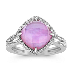 Amethyst and Pink Mother of Pearl Duet Diamond Ring