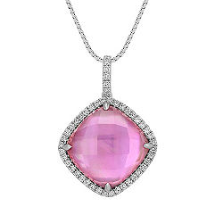 Amethyst and Pink Mother of Pearl Duet Diamond Pendant (18 in.)