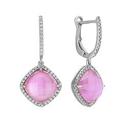 Amethyst and Pink Mother of Pearl Duet Diamond Earrings