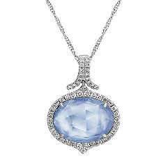 Blue Lapis, White Topaz and Mother of Pearl Duet Pendant with Diamond Accent (18 in.)