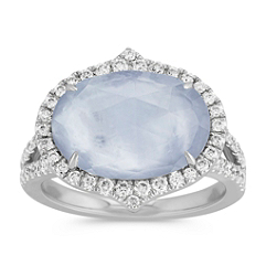 Blue Lapis, White Topaz and Mother of Pearl Duet Diamond Ring