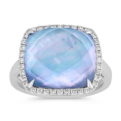 White Topaz, Mother of Pearl and Blue Lapis Duet Ring with Diamond Accent
