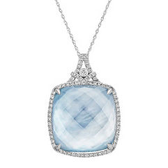 Blue Lapis, White Topaz and Mother of Pearl Duet Diamond Pendant (18 in.)