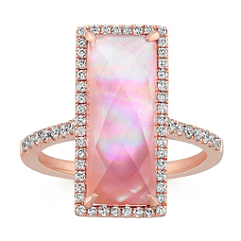 Amethyst and Pink Mother of Pearl Duet Ring with Diamond Accent