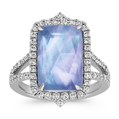 Blue Lapis, White Topaz and Mother of Pearl Duet Split Shank Ring with Diamond Accent