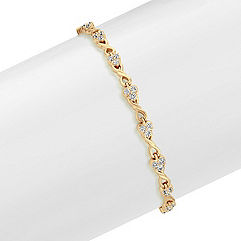 Heart and Swirl Infinity Round Diamond Bracelet in 14k Yellow Gold (7.25 in.)