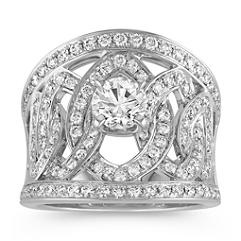 Linked Round Diamond Ring