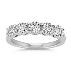 Diamond Cluster Straight Line Ring