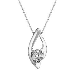 Round Diamond Cluster Curved Pendant (18 in.)