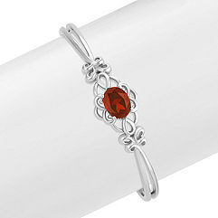 Oval Garnet Bangle Bracelet (7 in.)