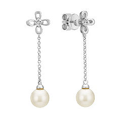 6mm Cultured Akoya Pearl and Diamond Dangle Earrings