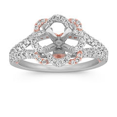 Petal Halo Diamond Engagement Ring in 14k Two Tone Gold