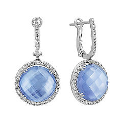 Blue Lapis, White Topaz and Mother of Pearl Duet Diamond Earrings