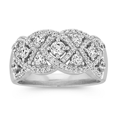 Round Diamond Ring with Marquise Shaped Links
