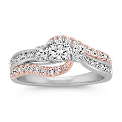 Three-Stone Diamond Ring in 14k Two-Tone Gold