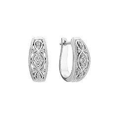 Round Diamond Earrings with Milgrain
