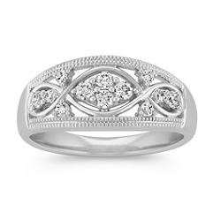 Round Diamond Ring with Milgrain