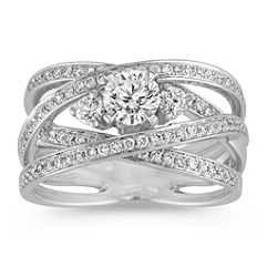 Crisscross Three-Stone Diamond Ring