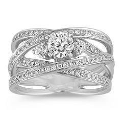 Crisscross Three-Stone Diamond Ring