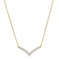 V Diamond Pendant in 14k Yellow Gold