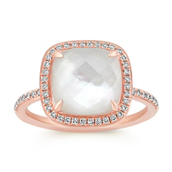 Mother of Pearl and White Topaz Duet Diamond Ring