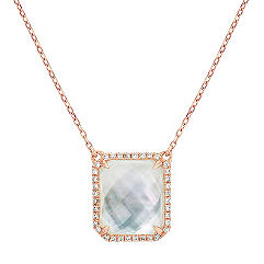 Mother of Pearl and White Topaz Duet Diamond Pendant (20 in.)