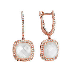 Mother of Pearl and White Topaz Duet Diamond Earrings