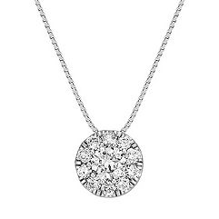 Petal Diamond Cluster Circle Pendant in 14k White Gold (18 in.)