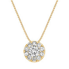 Circle Diamond Cluster Pendant in 14k Yellow Gold (18 in.)