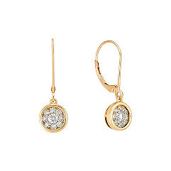 Round Diamond Cluster Leverback Earrings in 14k Yellow Gold