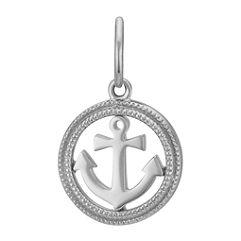 14k White Gold Anchor Charm