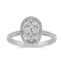 Diamond Cluster Oval Halo Ring