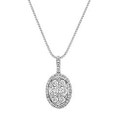 Diamond Cluster Oval Halo Pendant (18 in.)