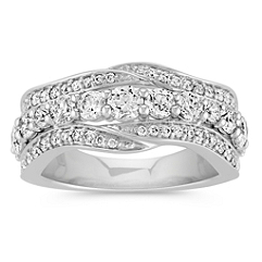 Round Diamond Wave and Center Line Ring
