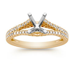 Diamond Split Shank Engagement Ring with Pave Setting in 14k Yellow Gold
