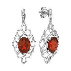Oval Garnet and Round Diamond Dangle Earrings
