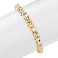 Round Diamond Tennis Bracelet in Yellow Gold (7 in.)