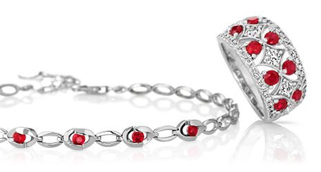Ruby necklace and fashion ring