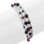 "3-6mm Black Agate, Amethyst, and Garnet Sterling Silver Bracelet (7.5"")"