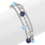5.5mm Cultured Freshwater Pearl, Sodalite, and Aquamarine Bracelet (7 in.)