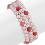5mm Cultured Pink Freshwater Pearl and Pink Rhodonite Cuff Bracelet (7)