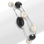 6-9.5mm Cultured Freshwater Pearl and Black Agate Bracelet (7.5)