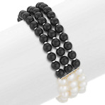 6mm Cultured Freshwater Pearl and Black Agate Bracelet (7.5 in.)
