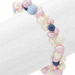 White and Lavender Freshwater Pearl, Sodalite, and Blue Lace Agate Bracelet