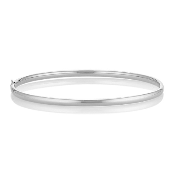 "14k White Gold Bangle Bracelet (7"")"