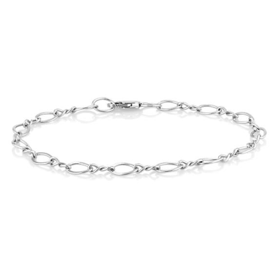 "14k White Gold Entwined Charm Bracelet (8.25"")"