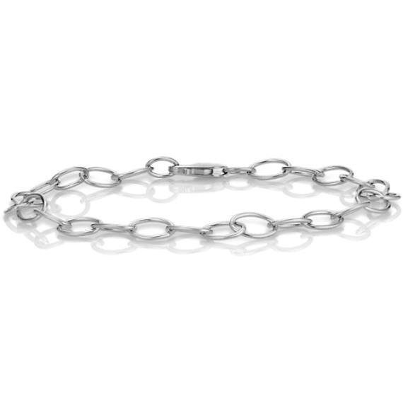 "14k White Gold Infinity Charm Bracelet (7.25"")"