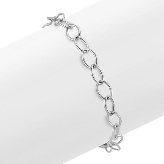 "14k White Gold Infinity Charm Bracelet  (8.25"")"